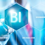 Business intelligence concept man pressing selecting BI